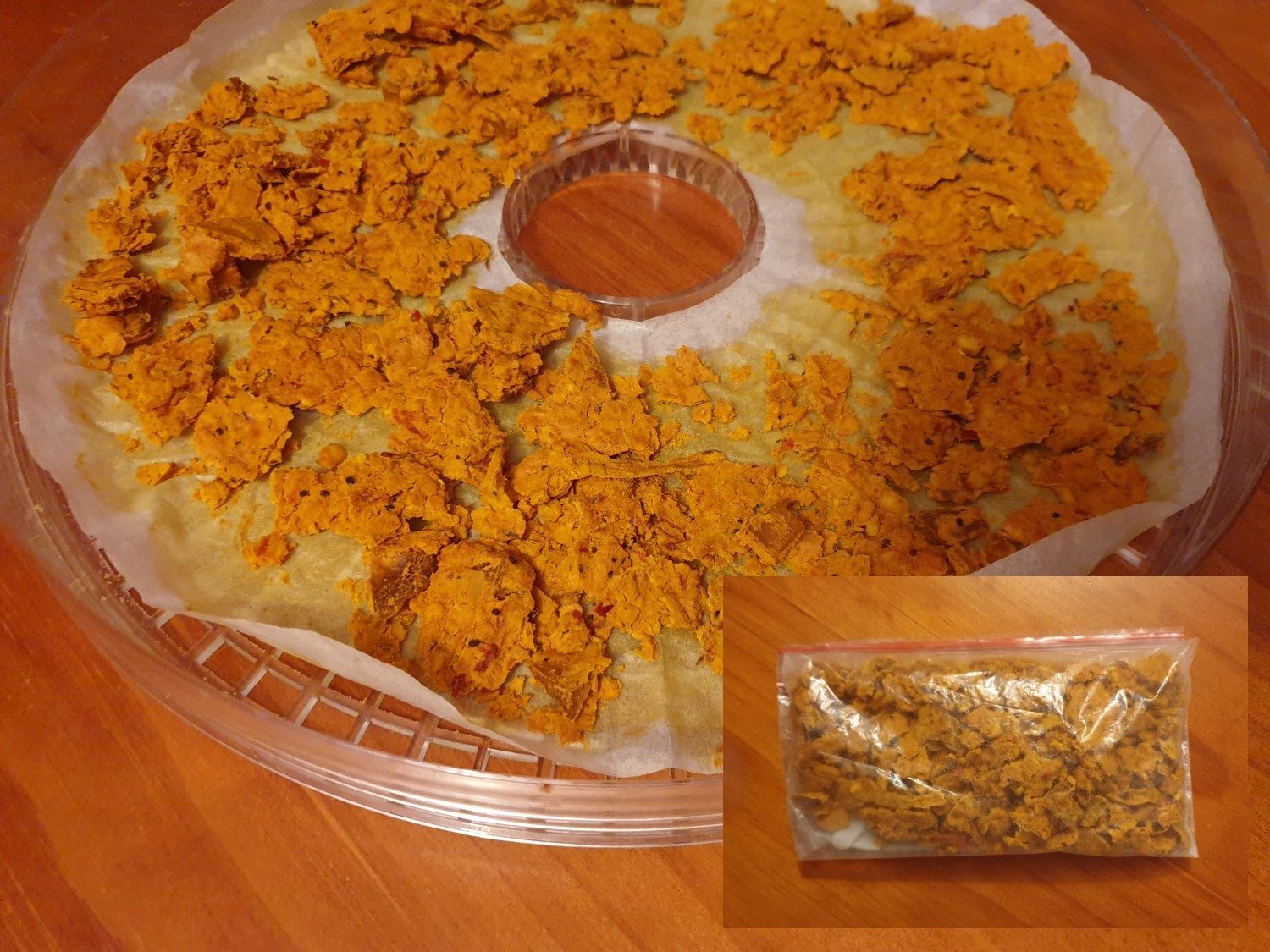This is what the dahl looks like once dry (main photo) and stored (inset photo).