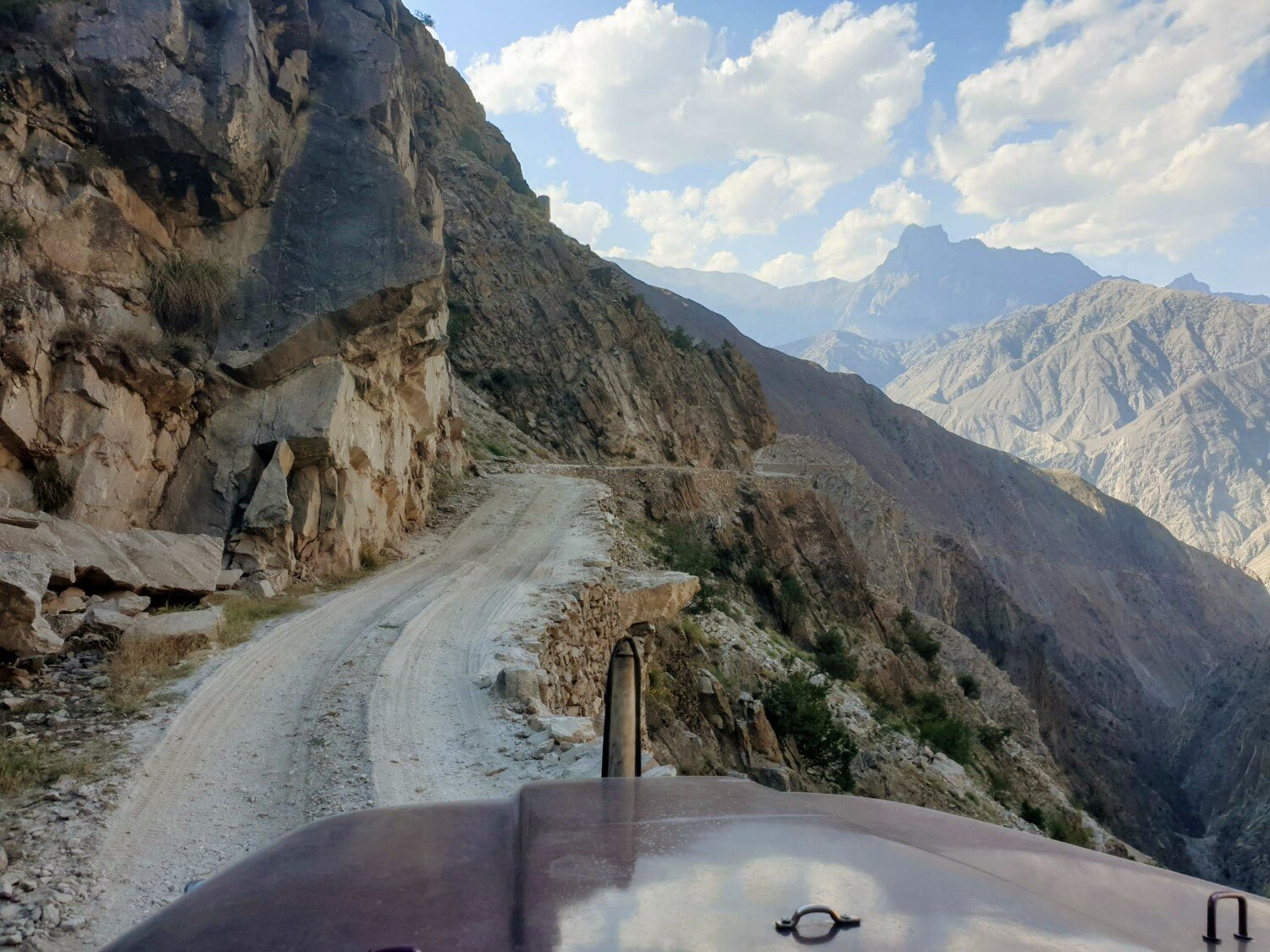 The road to Fairy Meadows is pretty narrow, especially when it comes time for two vehicles to pass in opposite directions!