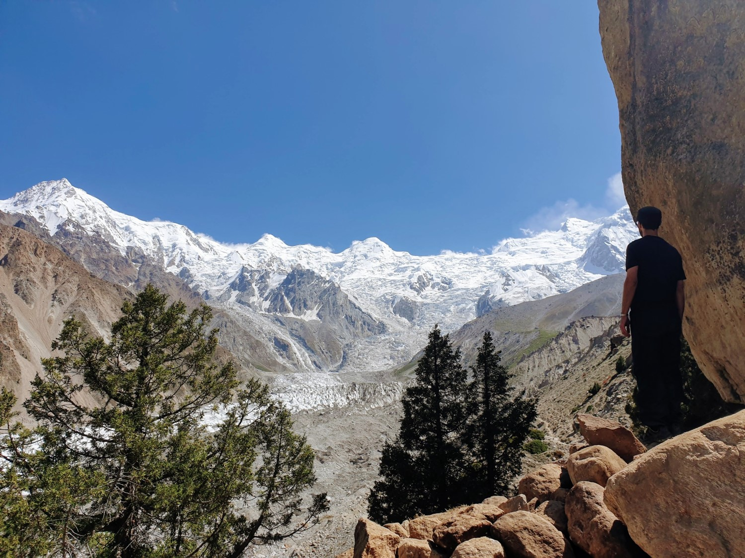 This viewpoint is about 60 minutes beyond Beyal Camp and a popular finishing point for those who don't want to do the final push along the (more narrow) trail to the base camp.