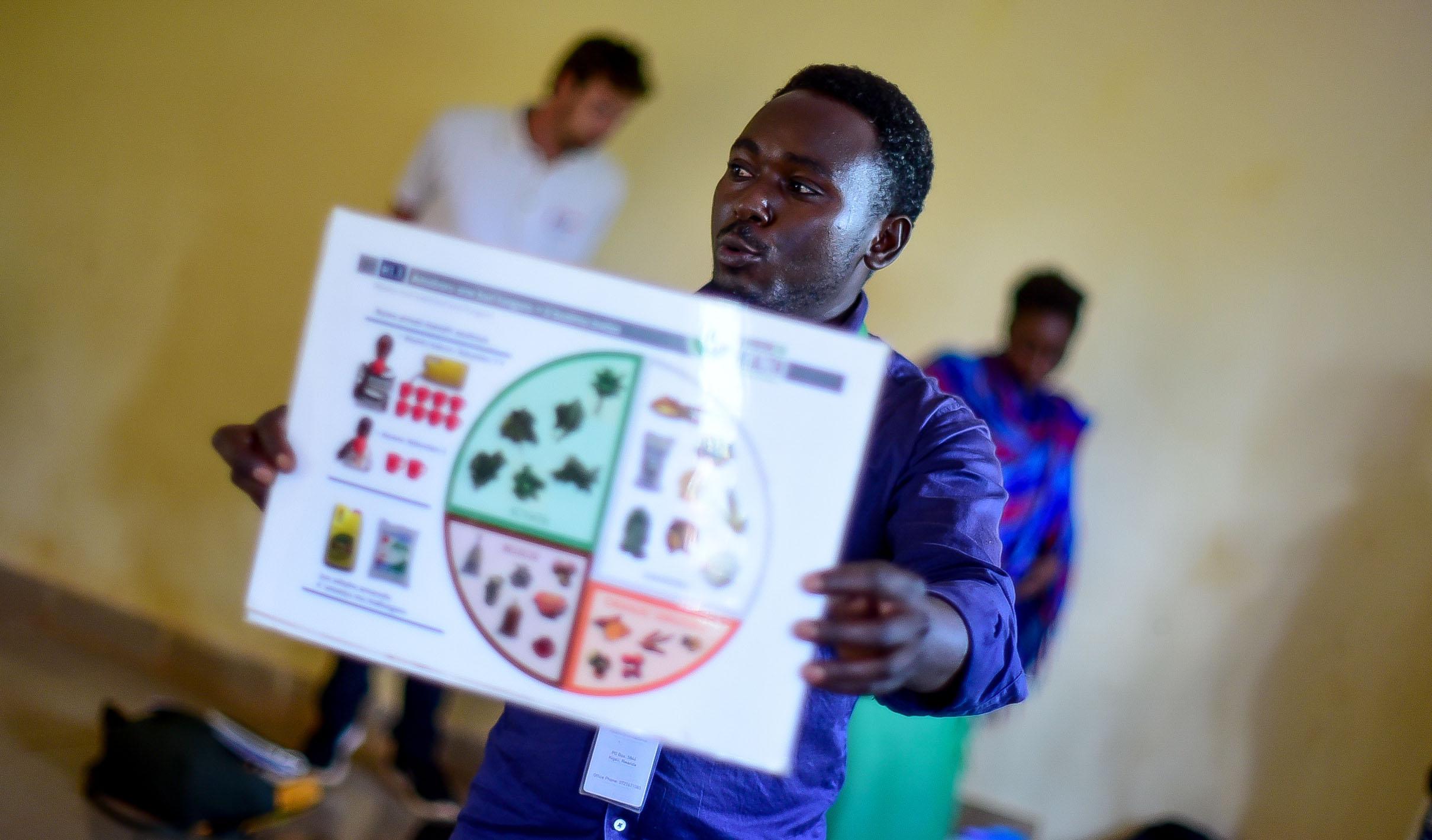 Field Educator Come Blaise Kubwinamana teaches GHI's four-color wheel of nutrition.