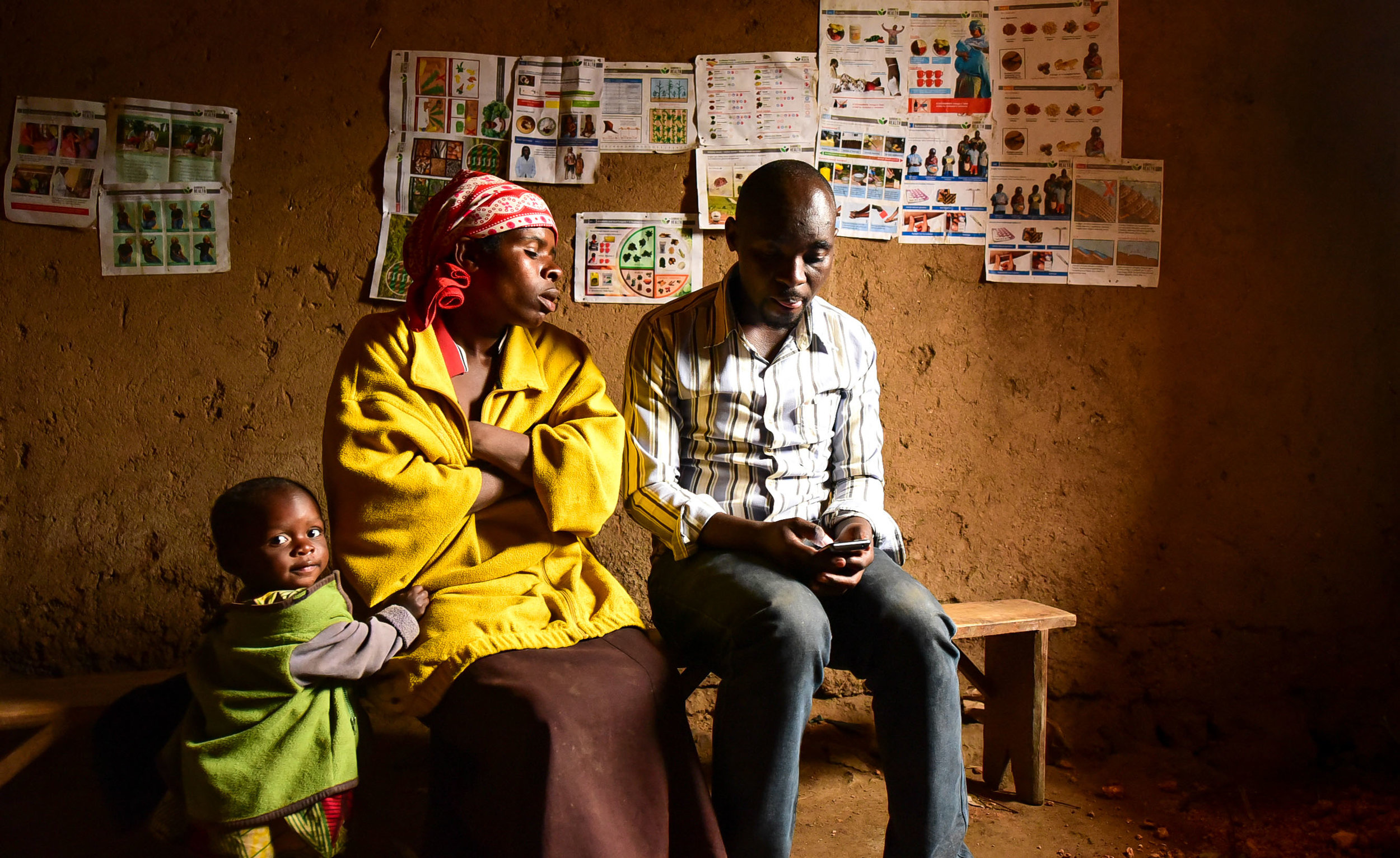 Nyiraribora Ornella is visited by a GHI Monitoring and Evaluation agent in her home. Ornella graduated from Busogo Health Center one year ago.