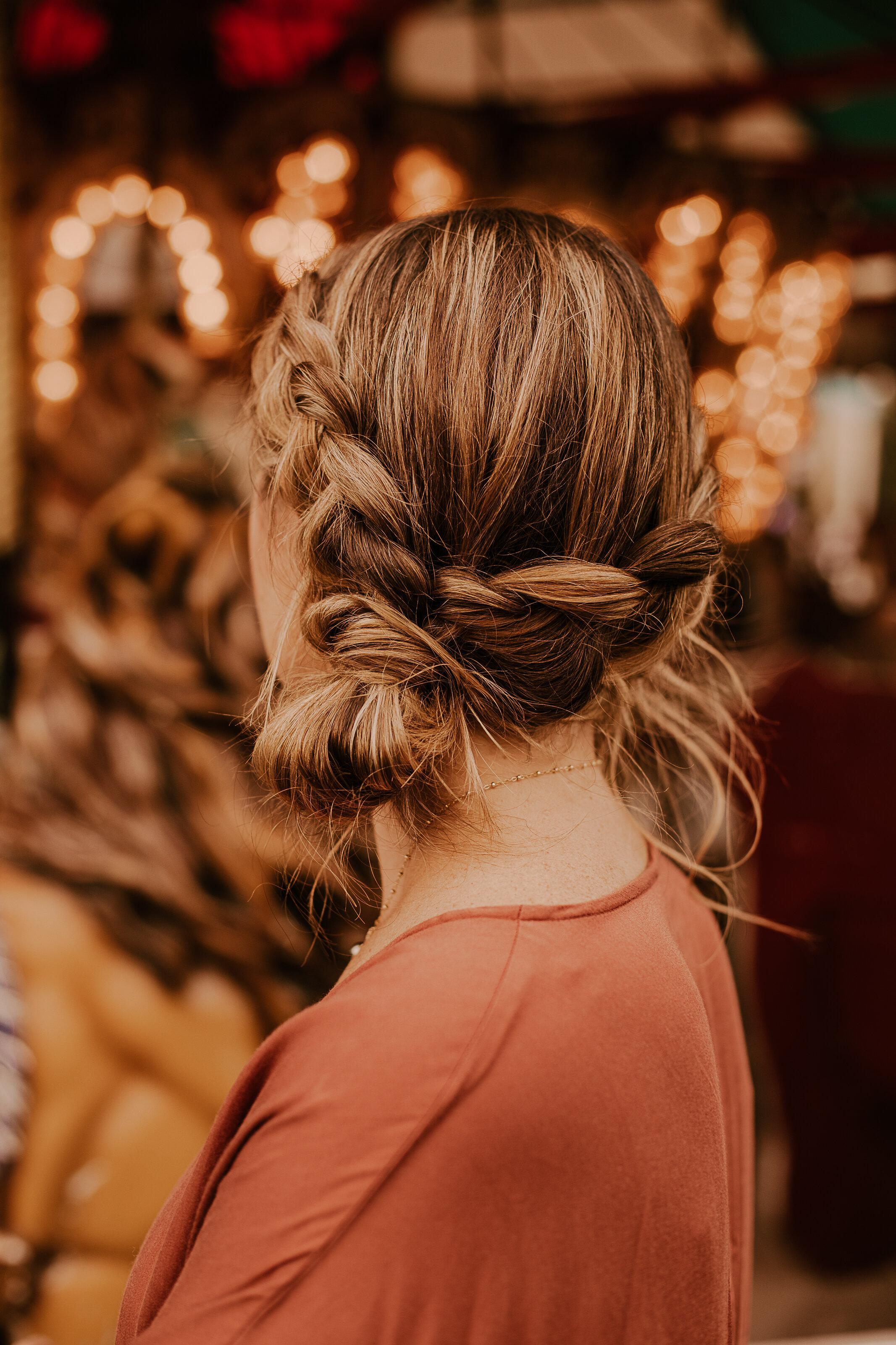 Allisons side bun braid