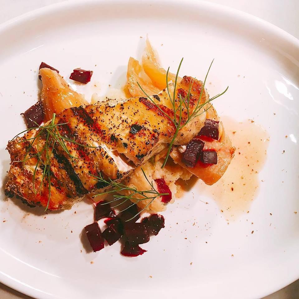 Wood-Grilled Monkfish   braised fennel, roasted beets, fried garlic, skordalia