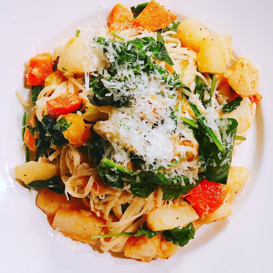 Spaghetti Aglio E Olio   butternut squash, root vegetables, parmesan cheese