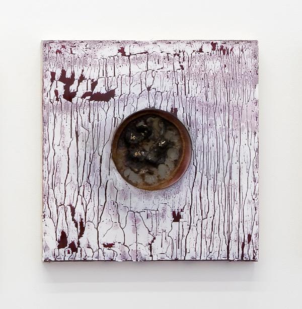 Per Inge Bjørlo  Sinnsbilete Æ. 4 / Mental Image Æ.4 (2015) Wood, stainless steel woven mesh, felt, Teflon fabric, spray-paint, paraffin wax fire briquettes 60 x 60 x 7 cm Unique
