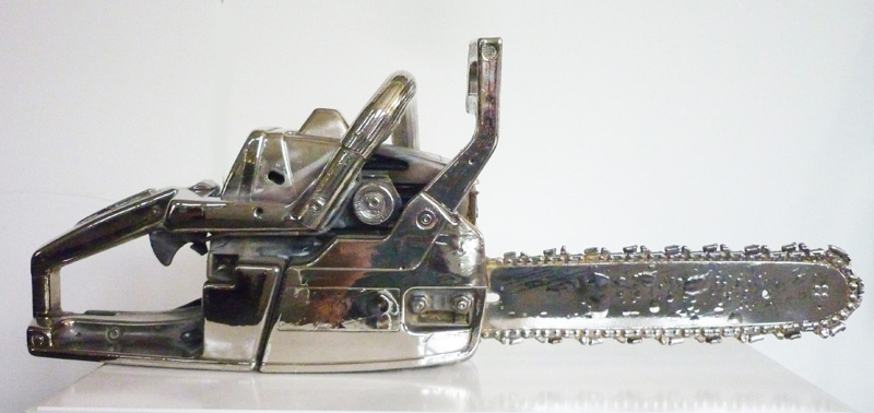 Monica Bonvicini  Chainsaw chromed  (2012) Nickel plated chainsaw, pedestal (varnished plywood) 71.5 x 27.5 x 25 cm (chainsaw) ; 79 x 44 x 41 (pedestal) Unique