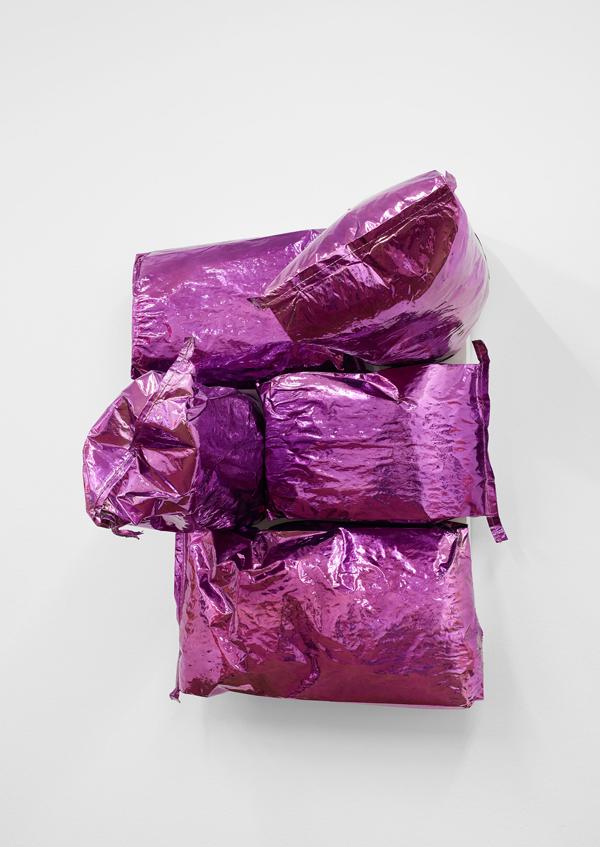 Jim Lambie Purple Rain (2016) Potato bags, expanding foam, chrome paint on canvas approx. H 94 x W 71.5 x D 58 cm