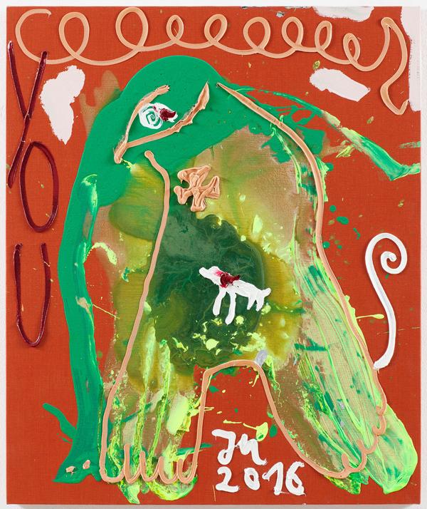 Jonathan Meese JA, DIESES ELEFANTENBABY WIRD VON DEN ELTERN NICHT POLITISIERT; SONDERN GELIEBT, ZUM GLUCK! 2016 Oil and acrylic on canvas 120.5 x 100.3 x 3.3 cm