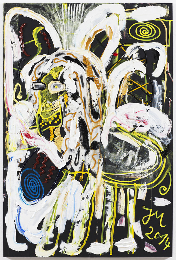 "Jonathan Meese TANTE ""SCHNULLER"" BERAUMT ALLES 20014 Oil and acrylic modeling paste on canvas  210.5 x 140.3 x 3.3 cm"