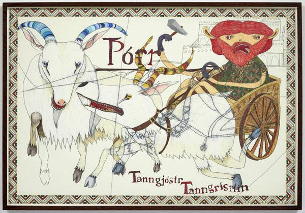 Shintaro Miyake  Tor (2013) Pencil, color pencil, acrylic, collage on paper 57.5 x 84.1 cm60.6 x 87.5 x 4 cm framed