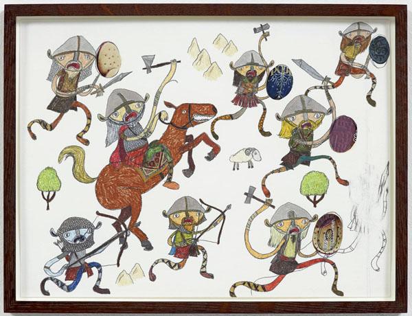 Shintaro Miyake  Vikings (2013) Pencil, color pencil, acrylic, collage on paper 30.1 x 40 cm33.4 x 43.5 x 4 cm framed