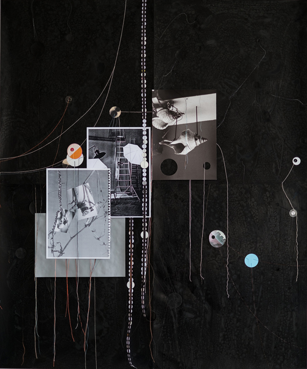 Dirk Stewen  Untitled (Schwarzes Brett 6)  (2013) Ink, thread, paper, gouache, paper streamer, inkjet print on alpha cellulose and b/w laser copies on rc-photopaper 101,6 x 122 cm