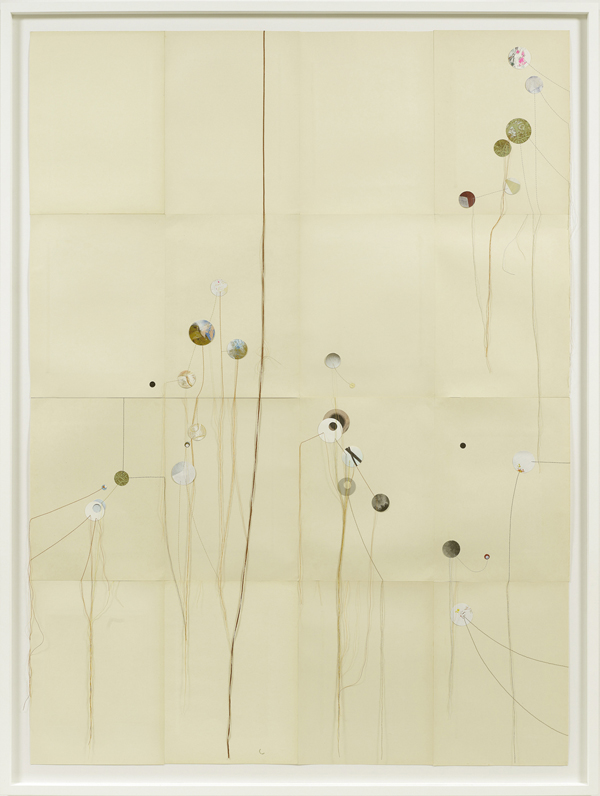Dirk Stewen  Untitled (Soft Corps XVIII)  (2011) Thread, tape and mixed media on paper Framed 162 x 123 cm