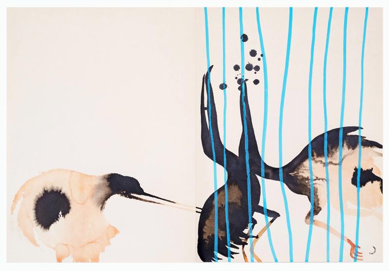 Dirk Stewen Berlin Bird 2017 Watercolor and ink on paper 58 x 38 cm © the artist; and Gerhardsen Gerner, Oslo