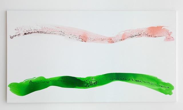 Georg Herold  Ohne Titel  (2011) Caviar, acrylic, lacquer on canvas 203.5 x 380 cm