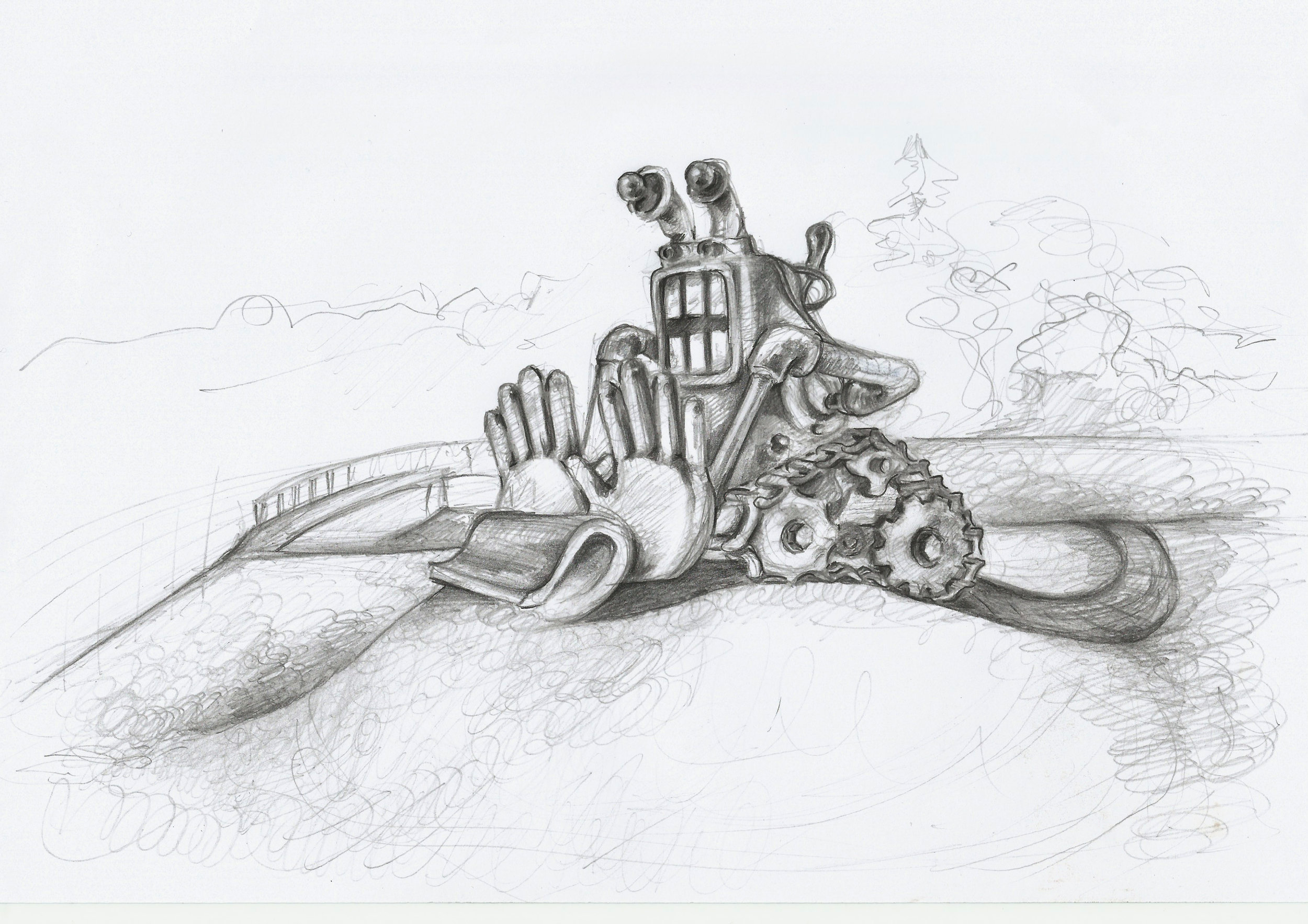 Sculpture Concept for Australian Sculptor Sam Deal  Graphite pencil