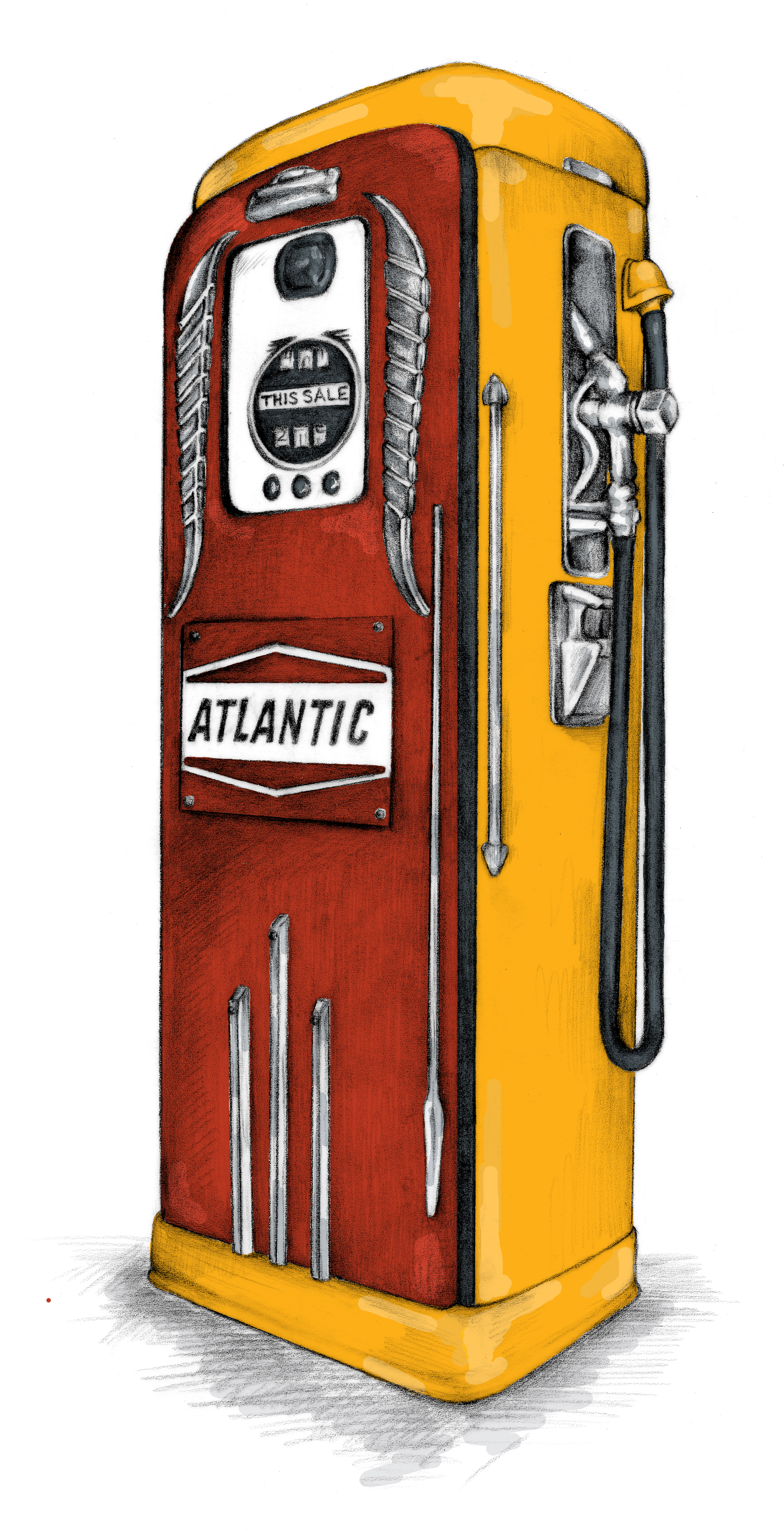 Antique Gas Pump  Graphite drawing, colored in Photoshop