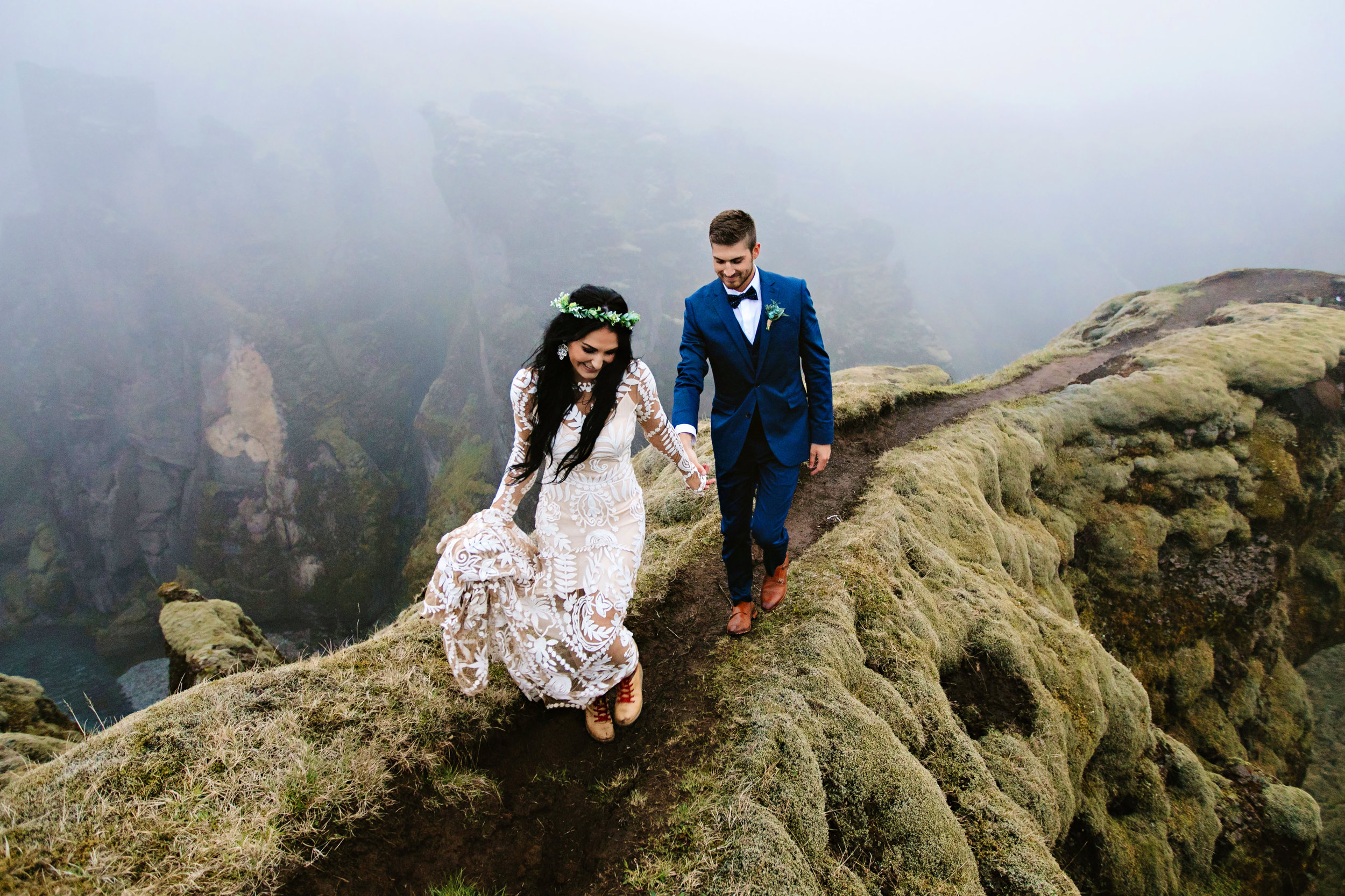 My husband Brady and I chose to do an adventurous wedding in Iceland hiking the most beautiful scenery in our wedding attire and I highly encourage you to do whatever it is that makes you happy even if it's going against the grain and being different. I absolutely love intimate adventurous weddings and truly believe they are one of the most special and intimate ways you can say your I do's.