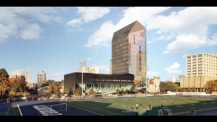 Rendering of  academic wood tower  to be constructed on University of Toronto campus (Credit:  Patkau Architects  and  MJMA )