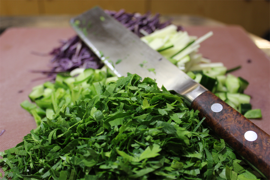 Slice - Some veggies, anything you want. In my case, red cabbage, zucchini, cucumber and flat leaf parsley.