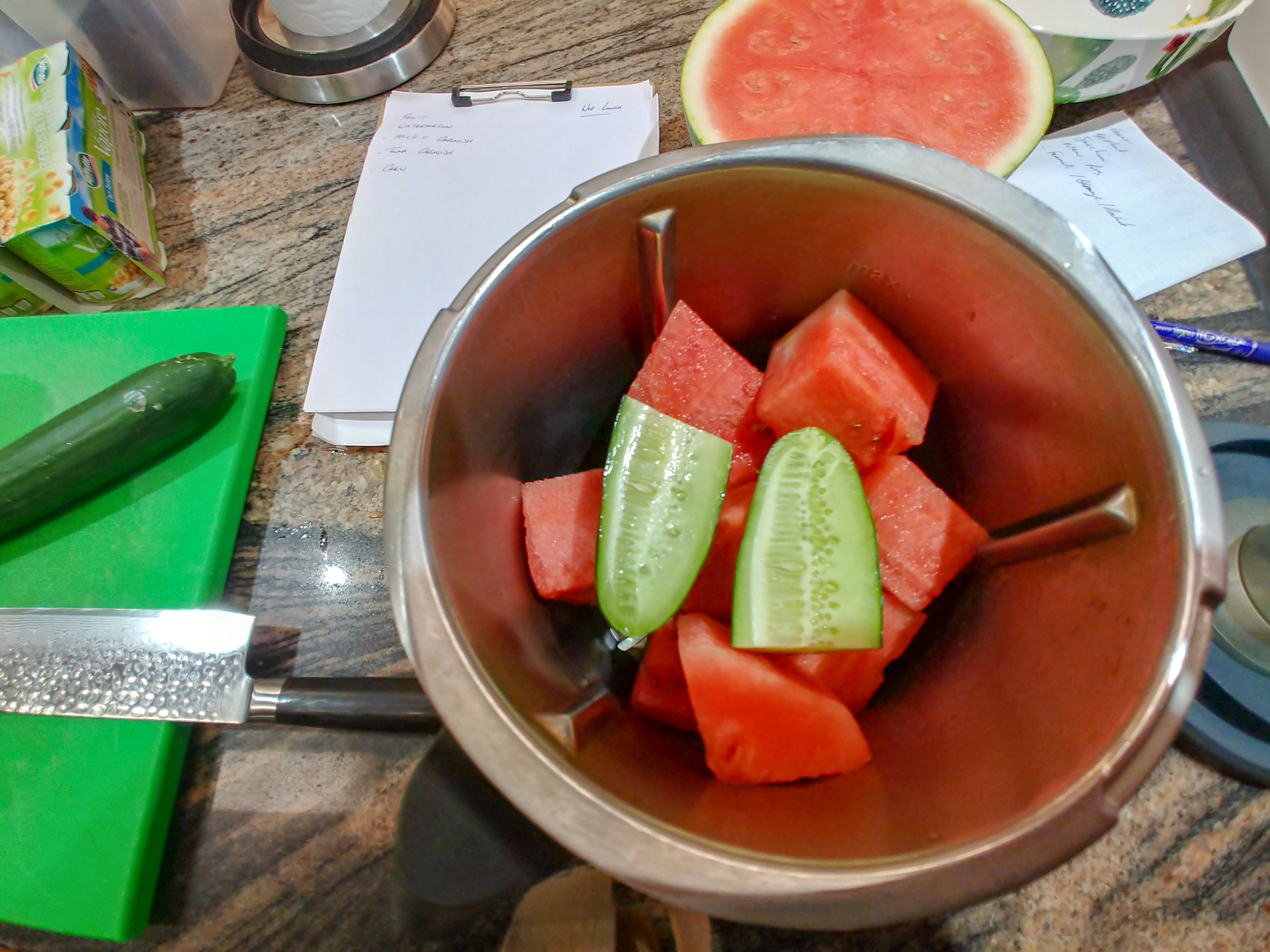 Add - cucumber, with skin and seeds.