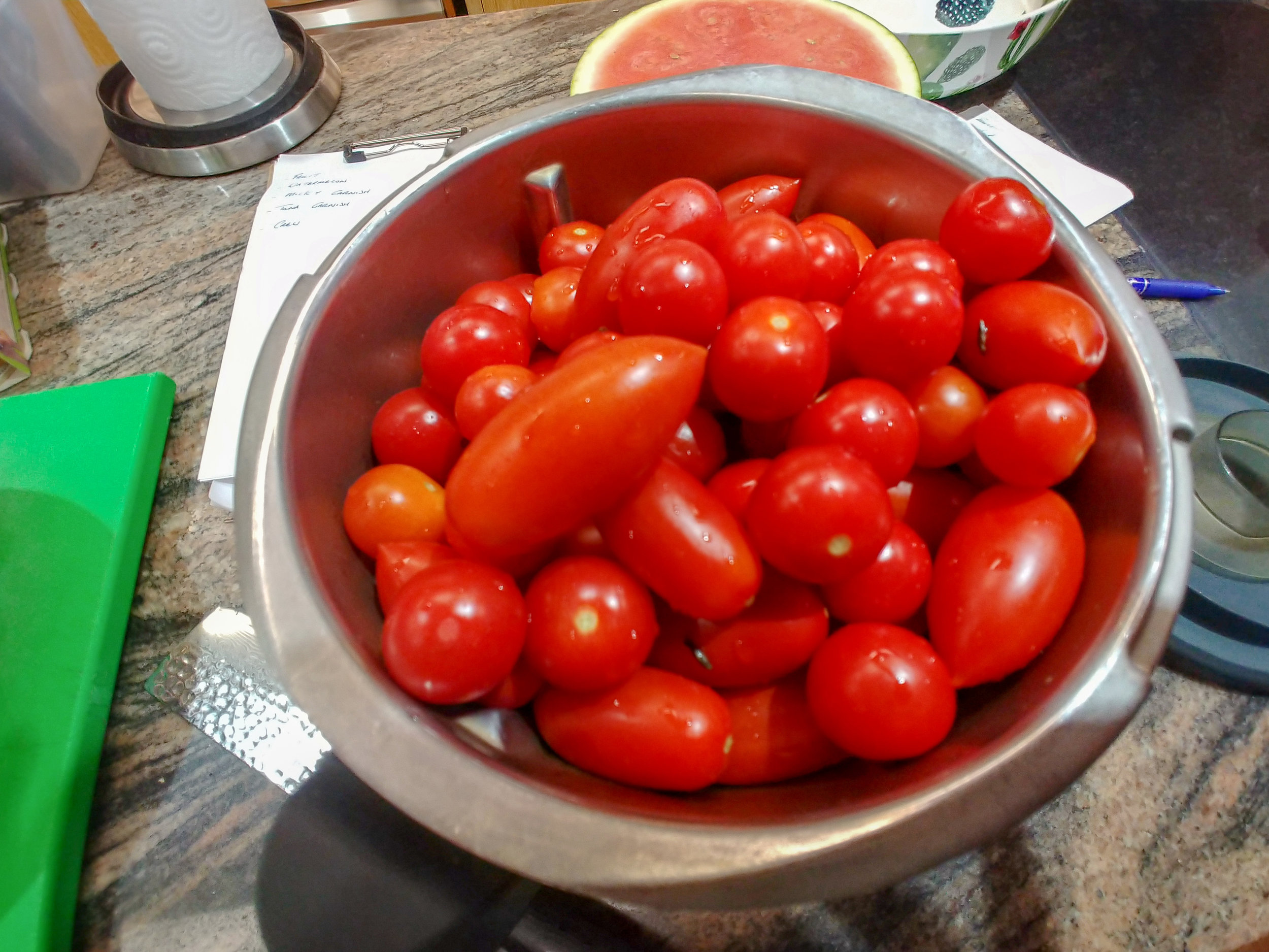 Add - washed tomatoes