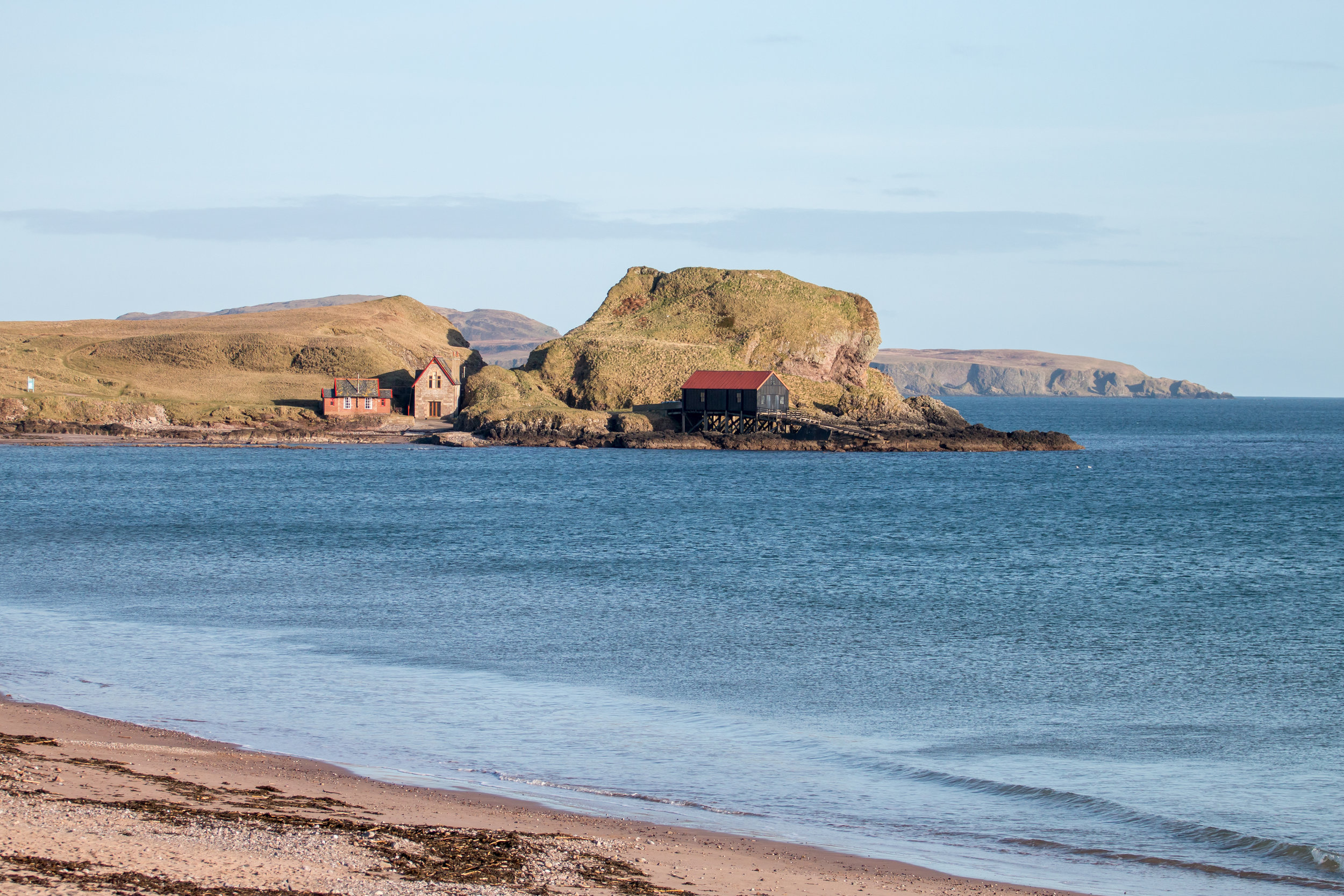 Dunaverty rock and the old Lifeboat station.