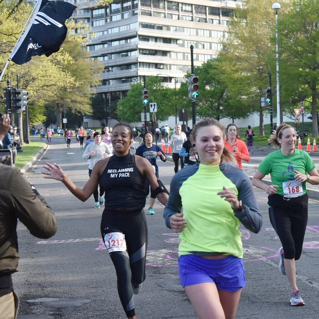 The author while running the 2018 National Women's Half Marathon. Photo: Sha'Neal Jourdan