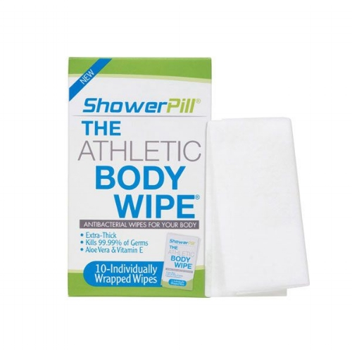 """Shower Pill ($9.99) - This extra-thick wipe (4x thicker than a baby wipe) is designed to be used like a disposable washcloth. It also states that it's """"proven to kill 99.9 percent of germs, while leaving skin feeling clean, fresh and moisturized."""" If it's going to be a while before you make it to a (real) shower, this is the option for you. Alcohol and paraben free.Photo: Shower Pill"""