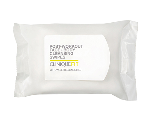 CliniqueFIT Post-Workout Face + Body Cleansing Swipes ($14) - For those sensitive to fragrances, these wipes clean away excess dirt, oil and sweat that can cause pores to clog or lead to breakouts without any added scent. Allergy tested. 100% fragrance free.Photo: Clinique