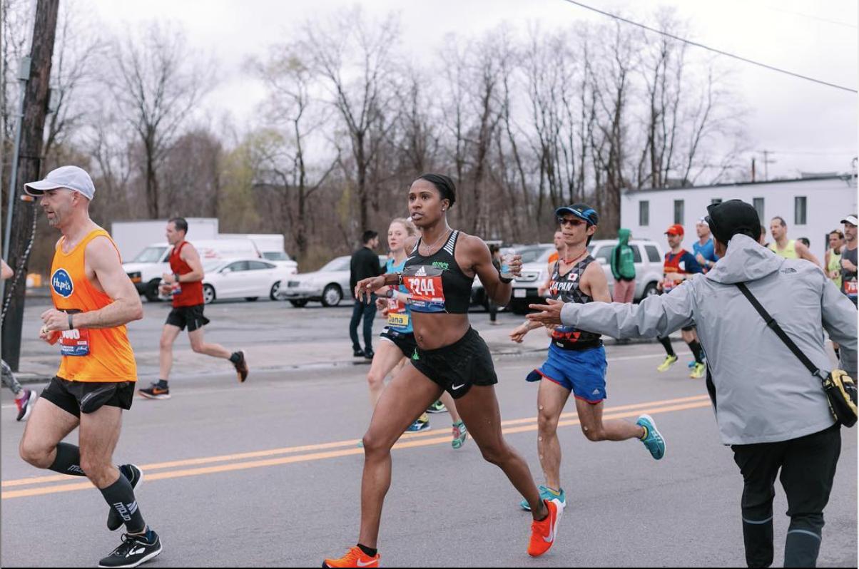 Dannielle at the 2019 Boston Marathon. Photo:   Delia G.