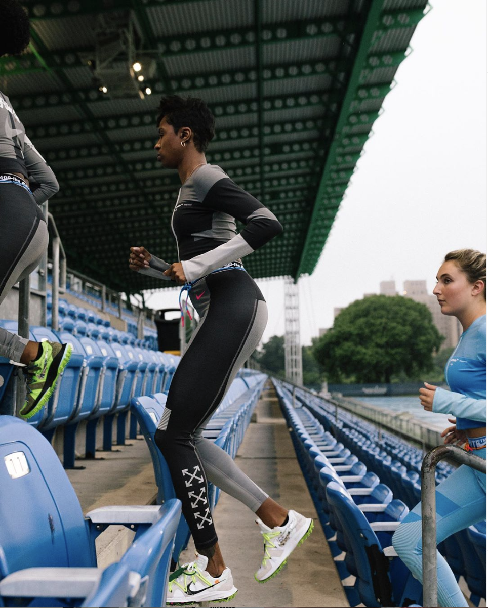 Dannielle running the bleachers at a Nike X Off-White activation. Photo:  Fred Goris