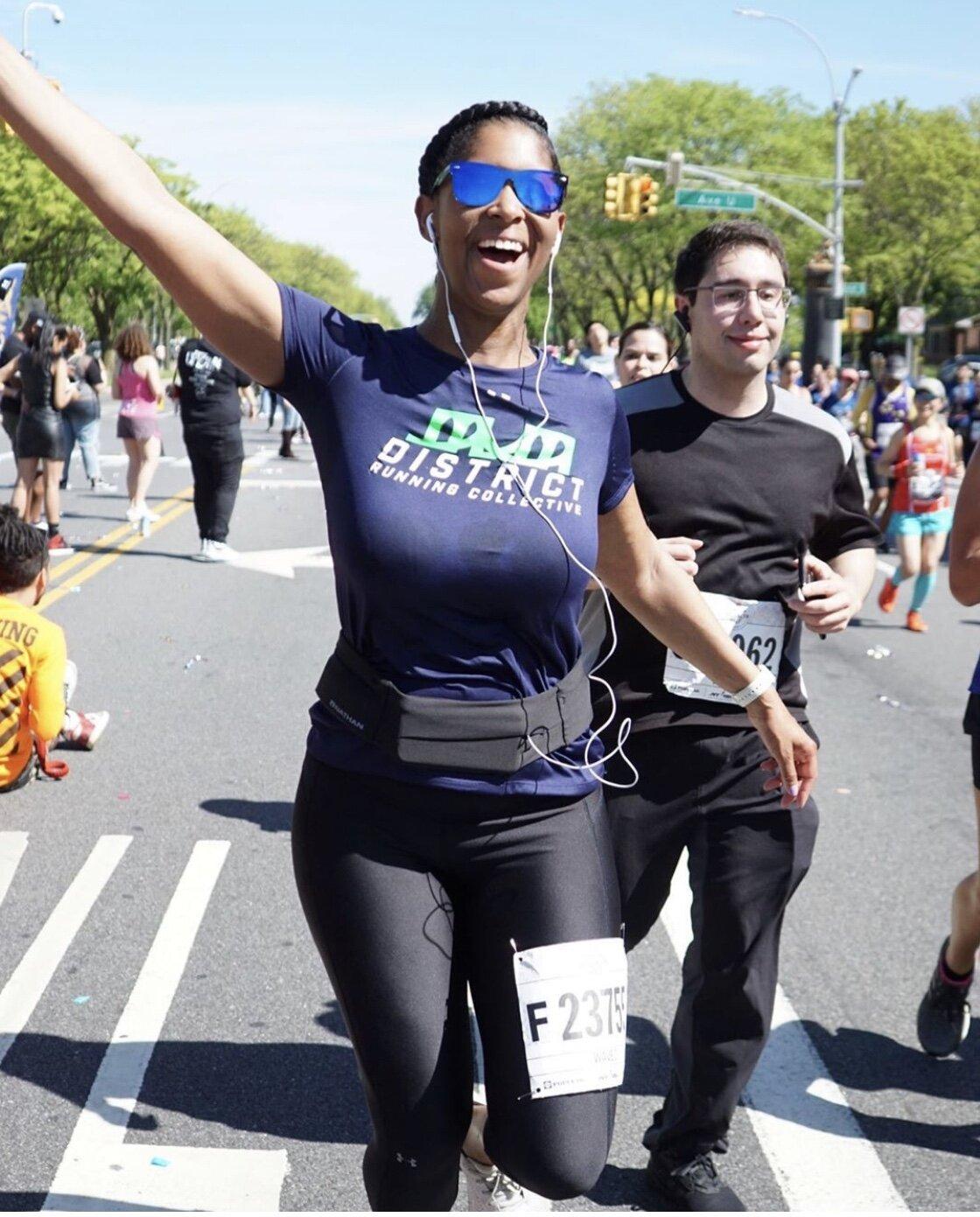 Natalie gets hype during the 2019 Popular Brooklyn Half Marathon