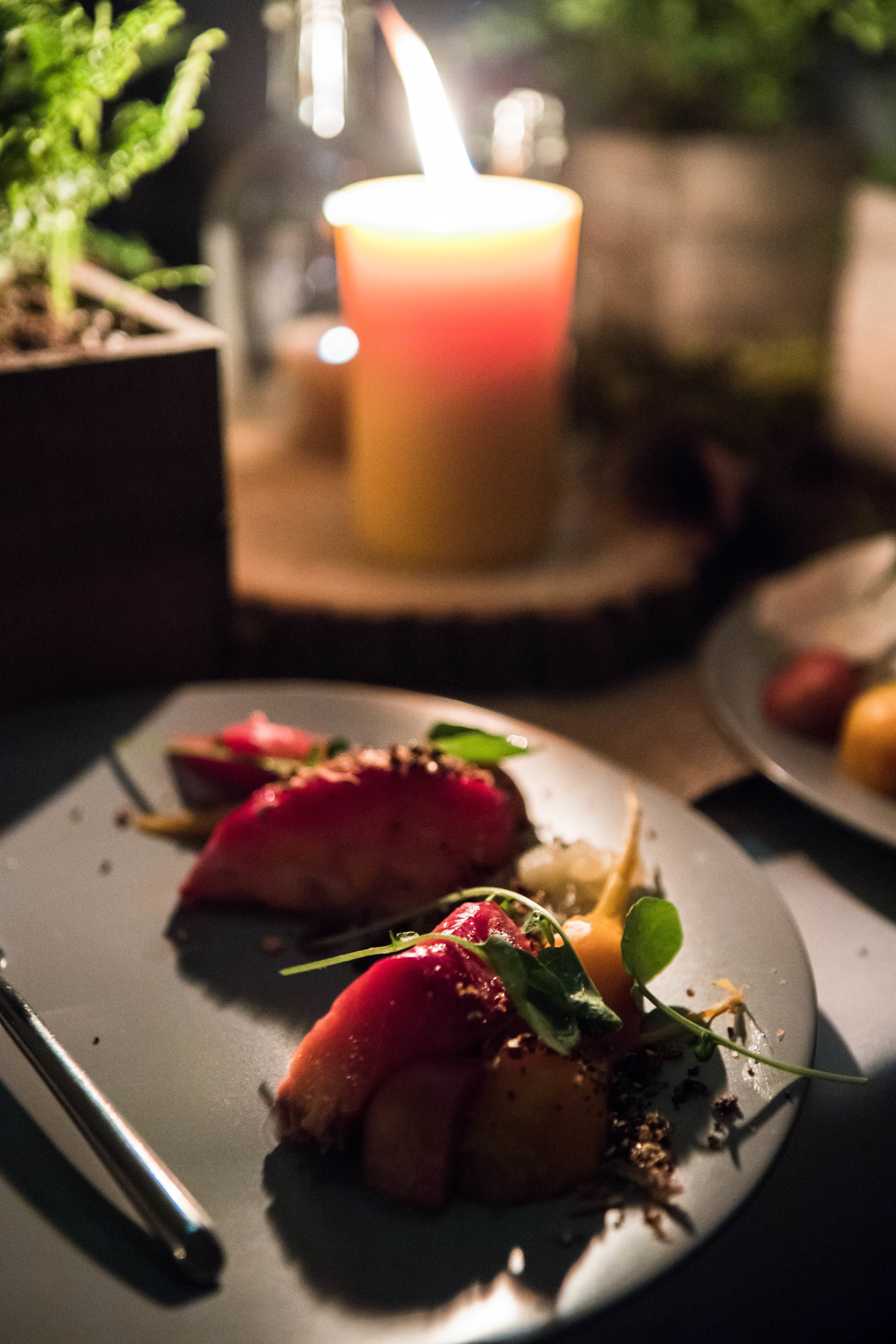 """Ocean Wise Salmon served with an Absolut & beet cure, diced apple and watercress, topped with goat yogurt and an """"everything crumb"""""""