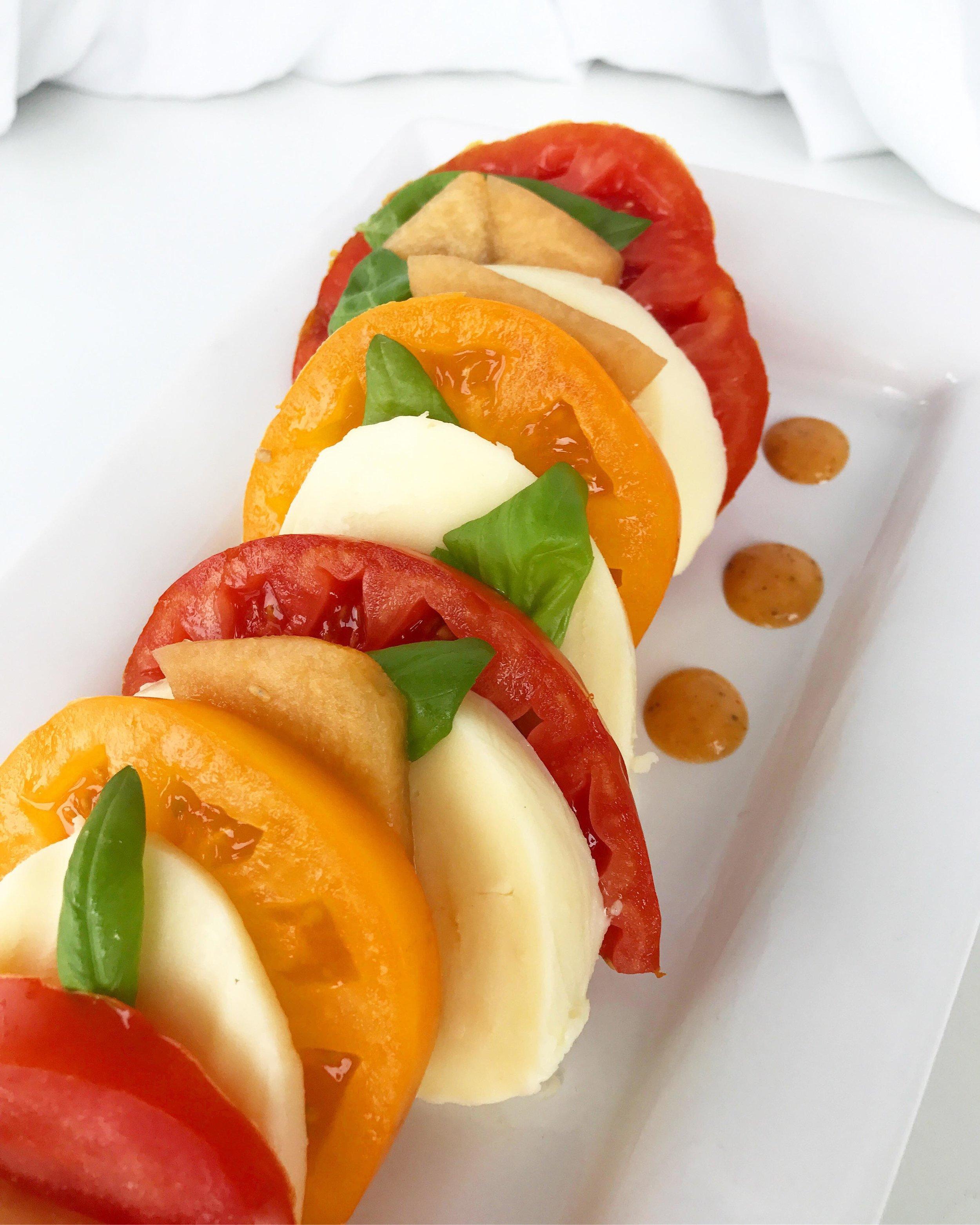 caprese Melon & Heirloom Tomato SALAD - with Smoked Tomato Vinaigrette