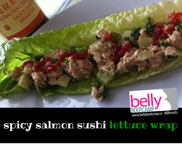 spicy salmon sushi lettuce wrap