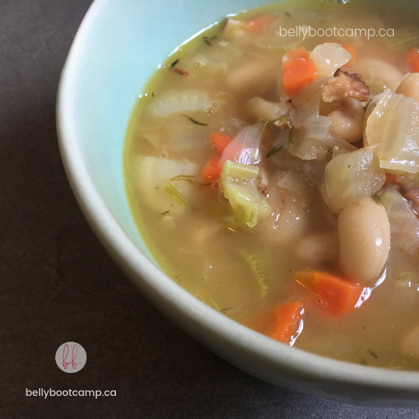 Fennel and white bean soup with bacon - A perfect year-round soup, hearty & full of flavour.