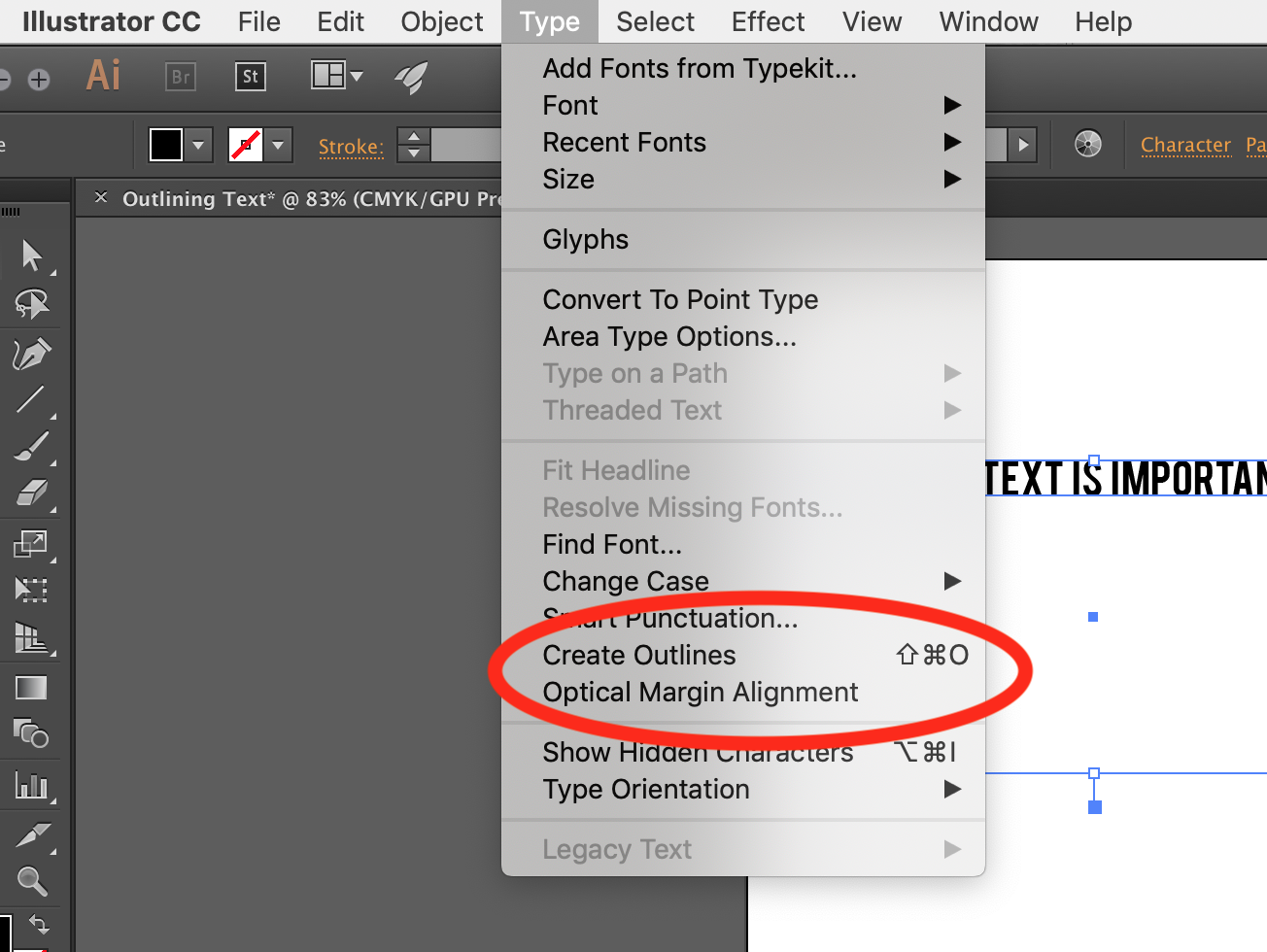 How to outline text in Adobe Illustrator