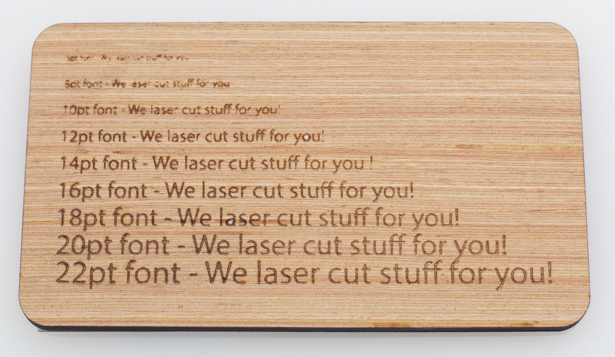 Laser Cut Text on Bamboo Plywood
