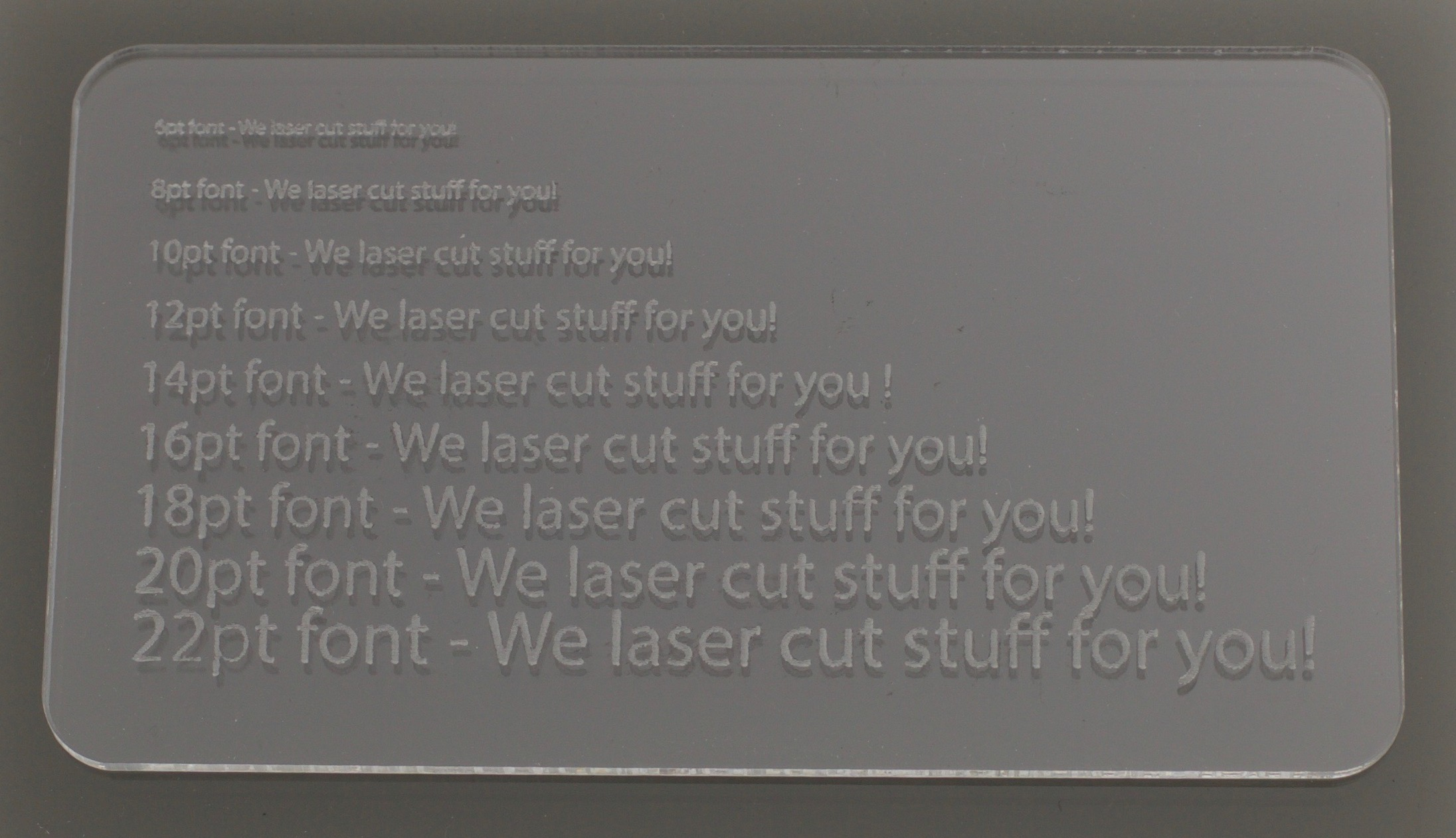 Laser Cut Clear Acrylic Engraving