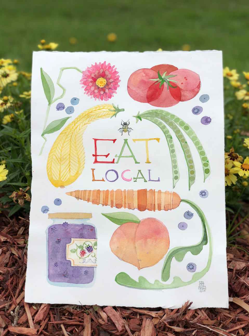 Eat Local Adam Trest Print