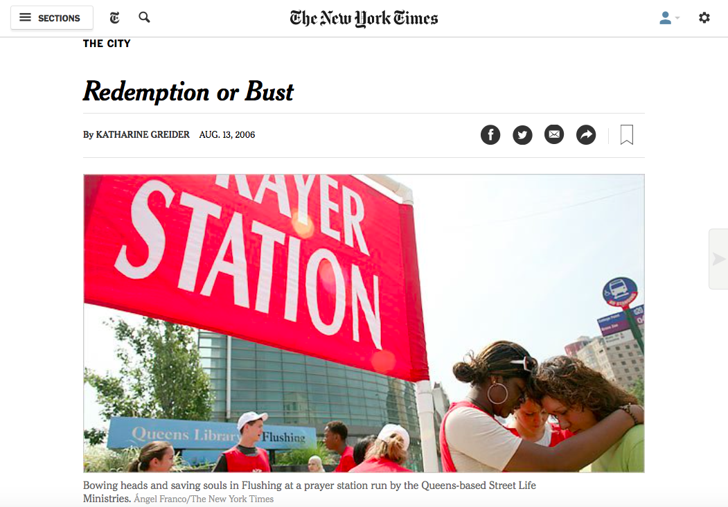 "reported article on proselytizing in the city, NYT ""City"" section"