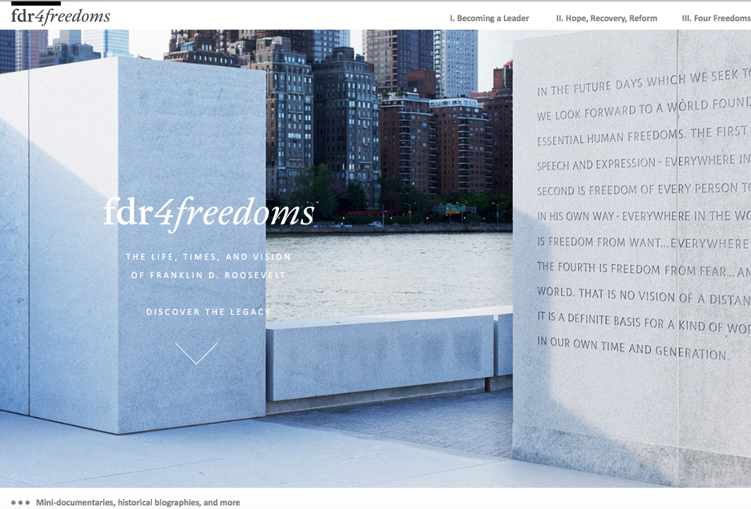 editor, contributing writer, comprehensive illustrated online history of FDR (FDR Four Freedoms Park Conservancy, 2015)