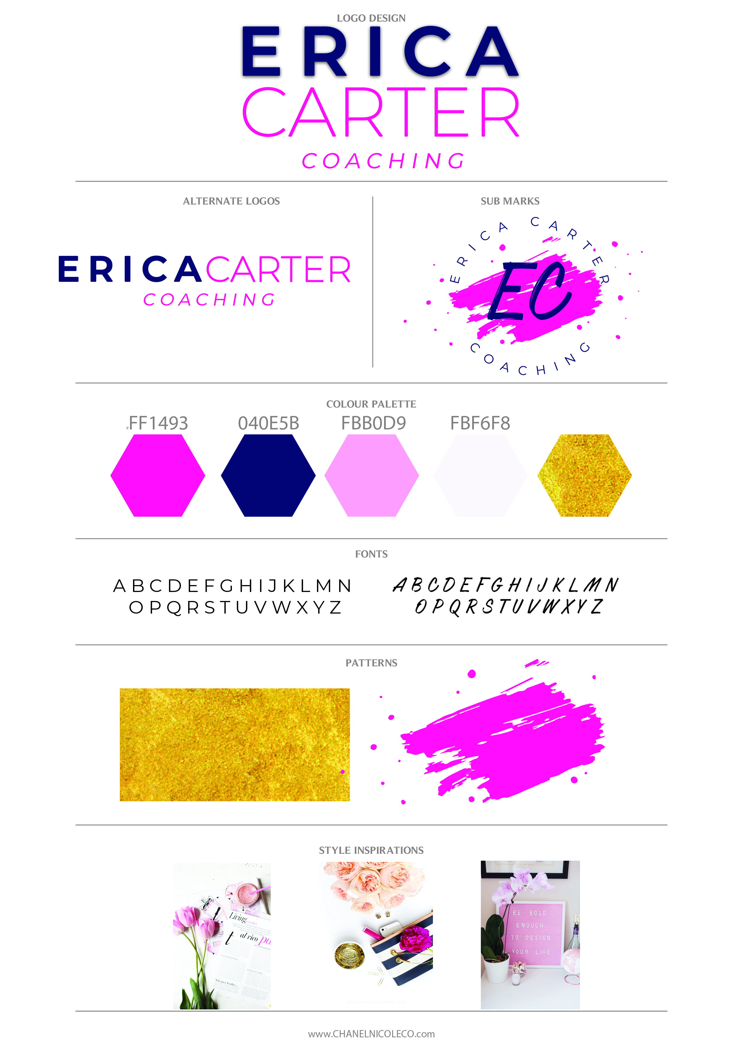 Pink and Navy Branding for Coaching business - styled by Chanel Nicole Co.