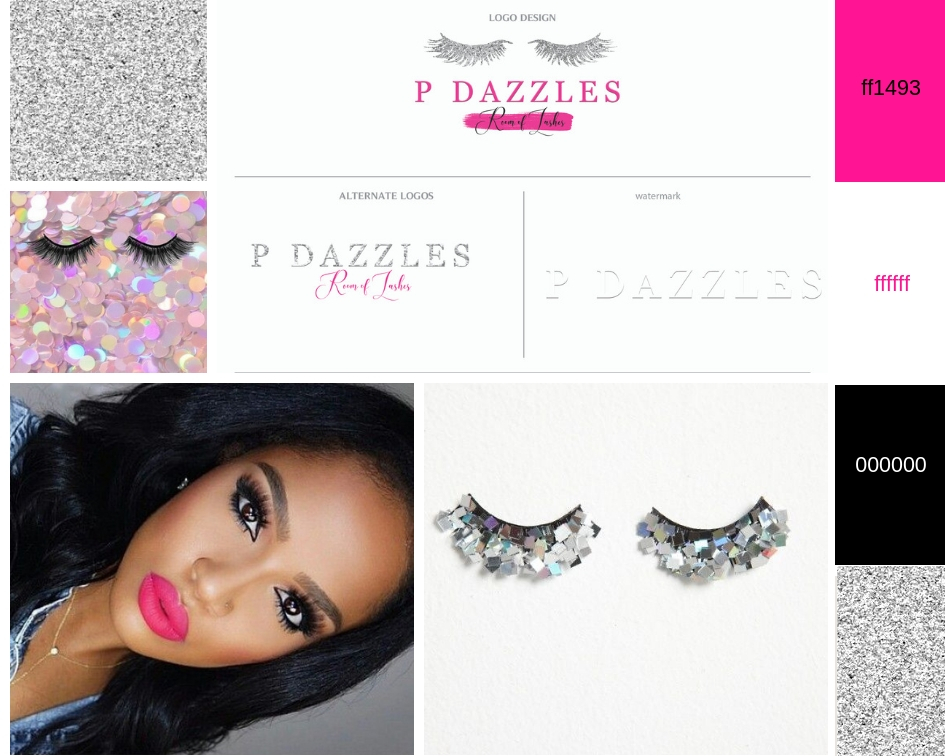 Hot Pink and sparkles branding for eye lash tech - styled by chanel nicole co