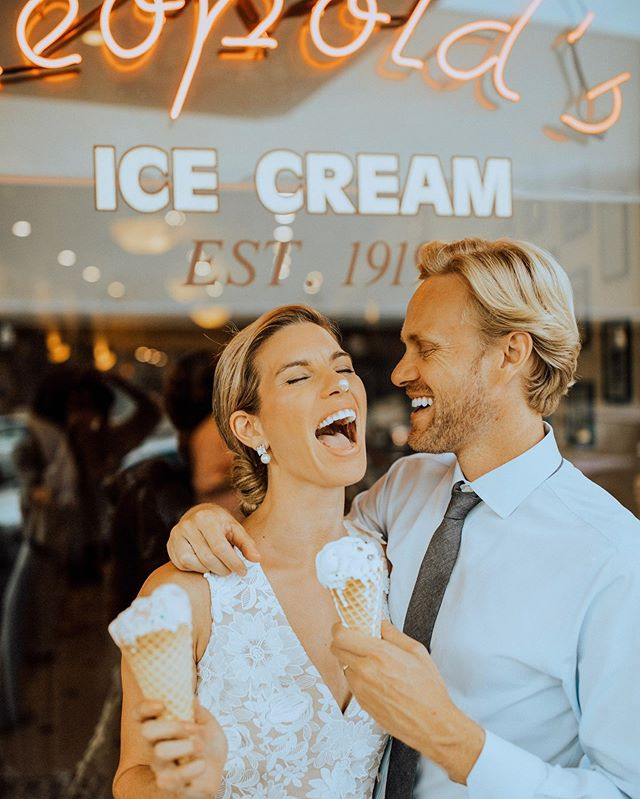 Not pictured: me gobbling down the most insane butter pecan ice cream from @leopoldsicecream while fighting off @corey.mccomb (I'm a little food aggressive, especially when it's the only real ice cream I've eaten in two years 👹) ... Last month, Corey and I had the opportunity of a lifetime. Only a few weeks after our wedding, we got to relive all the glam + love in Savannah with our friends at @bhldn 💕 my favorite part besides the ice cream? Trying on all the different wedding dresses I didn't get to wear at our actual wedding! You can see the entire campaign at BHLDN.com - it was SO fun! #BHLDNinSavannah #BHLDNBride