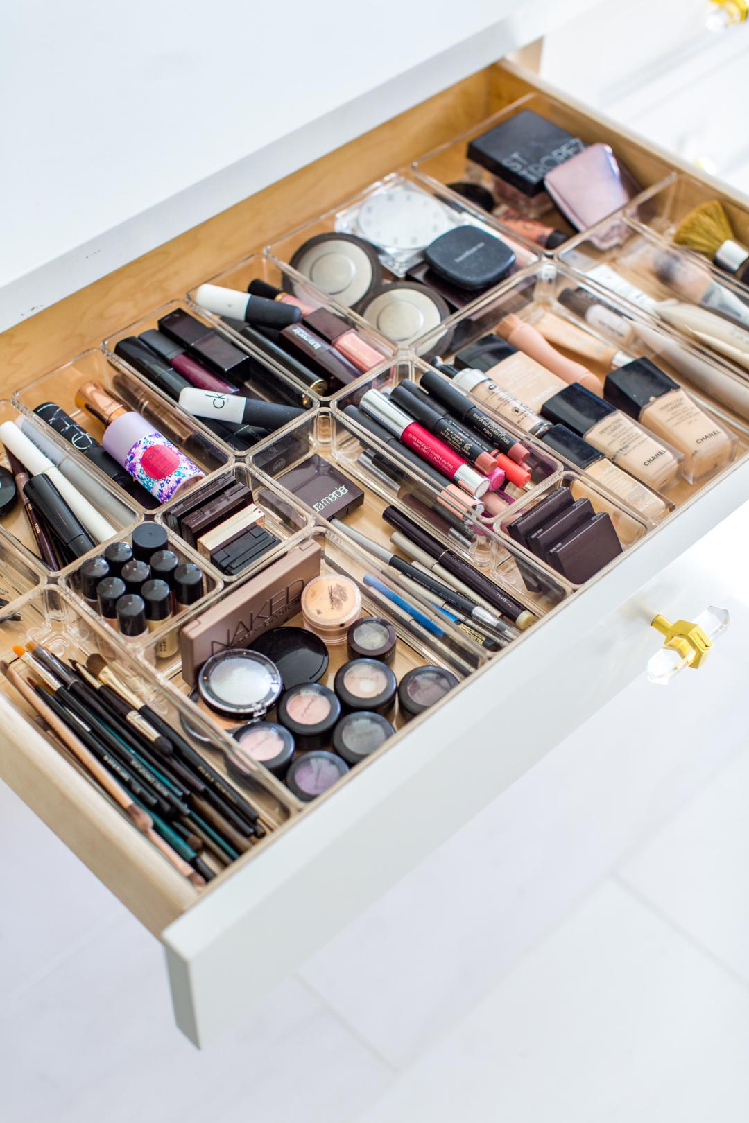 Bathroom drawer dividers for makeup organization
