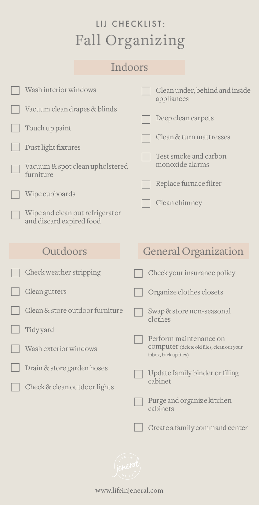 Fall Organization Checklist Life in Jeneral