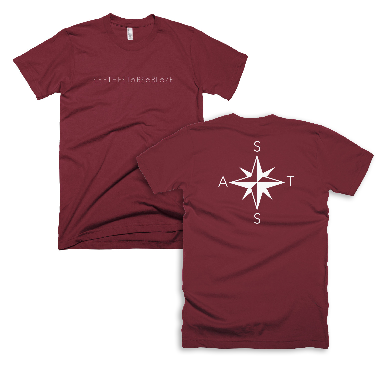 Compass Tee   My second tattoo was a compass on my forearm to remind myself to always follow my heart. This tee has a compass style design on the back with S.T.S.A. for See The Stars Ablaze.  (also available in black)    <shop here>