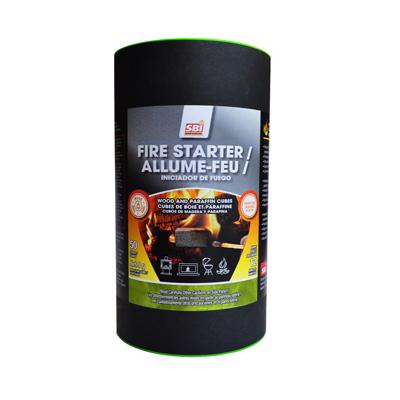 Allume-feu en cube de bois et paraffine - 50 allume-feu en cubes. Fabriqués à partir de bois et cire de paraffine sans autre produit chimique. Sécuritaire, inodore, avec forte combustion, sans suie. Facile à manipuler et simple à utiliser. Peuvent être entreposés indéfiniment sans risque de dessèchement. Brûle pendant 12 minutes